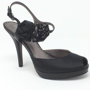 9B COACH black Addysen satin peep toe pumps